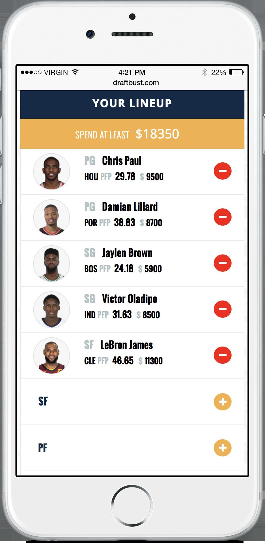 screenshot of your lineup