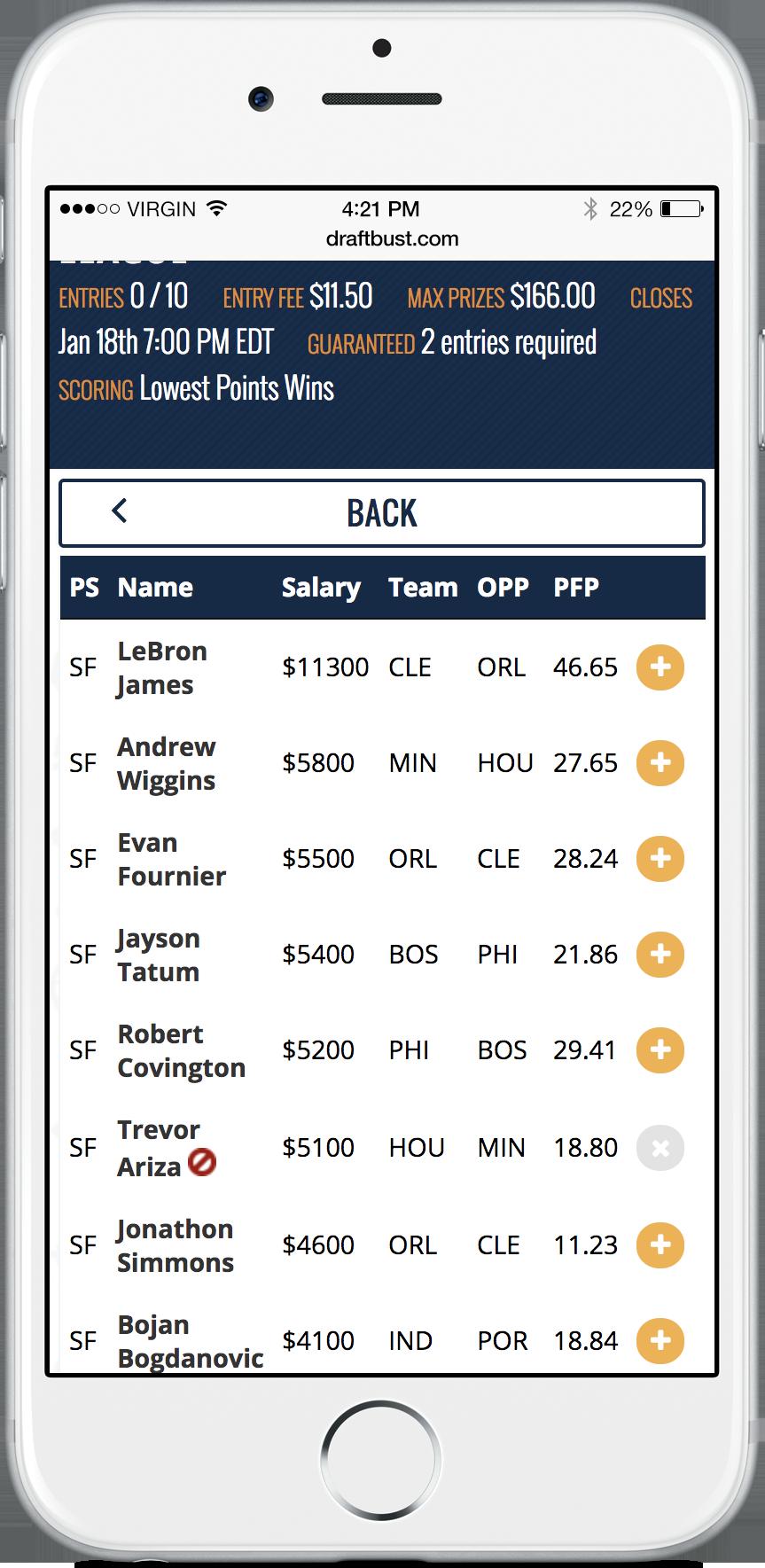 screenshot of players list
