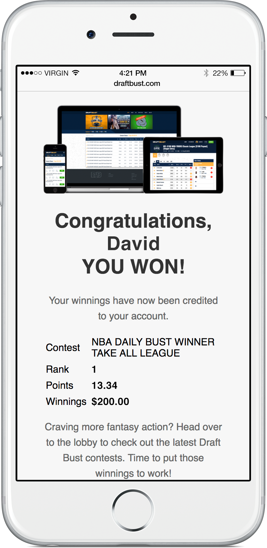 screenshot of winnings